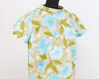 1960s Top // Blue Floral Boat Neck Cotton Blouse