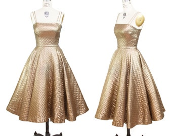 1950s Dress // Gold Láme Quilted Full Skirt Party Dress by Jonathan Logan