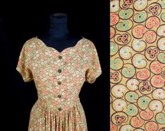 1940s Dress // Clover Print Rayon Blend Dress with Scallop Neckline