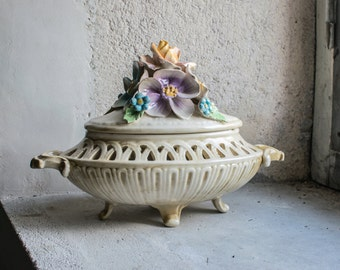 French Porcelain Tureen or Candy Dish, with Sculpted Flowers
