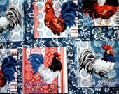 FABRIC by the yard -Large Roosters in squares - on Country Bandanna Print