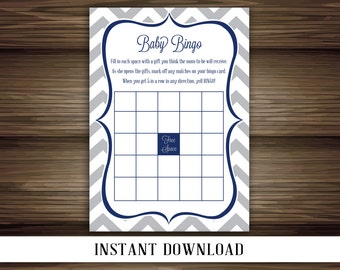 INSTANT DOWNLOAD - Chevron Baby Bingo - Gray with Navy Accents - Baby Shower Game - Printable Digital File