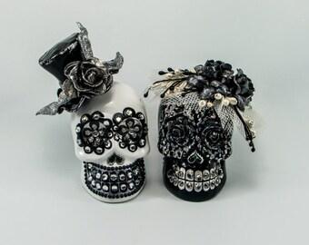 Skull weddings cake topper handmade bride and groom