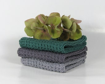 Hand knitted dish cloth - wash cloth - soft cotton set of 3 teal purple grey concrete grey