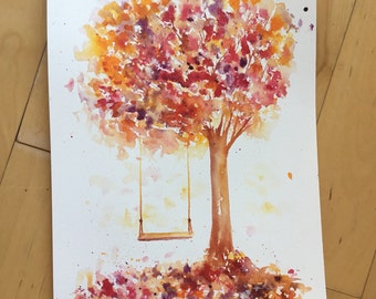 Tree painting, fall, Original Watercolor Painting, Landscape, Fine Art, Floral, Modern Art, Ink, Minimalist, Garden Floral, Abstract Art