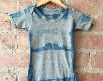 Shibori Grey and Indigo Dyed Baby Grow