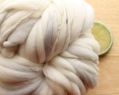 Whisper - Handspun Wool Yarn White Grey Thick and Thin Skein