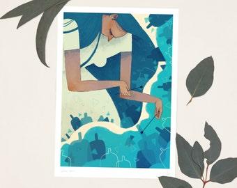 Blue Glass A4 Print