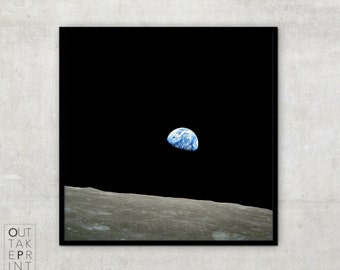 "Fine art print of Epic Vintage Photography ""Earthrise"" from Apollo 8 mission,"