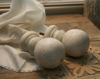 Pair of Vintage Cannonball Finials, Shabby Chic
