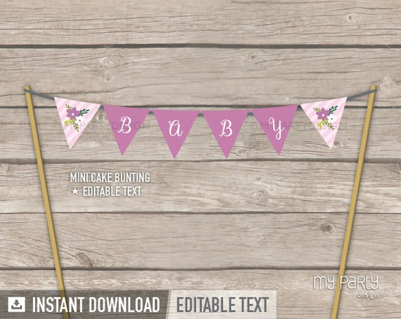 Floral Baby Shower Cake Bunting Mini Banner Cake Topper