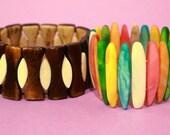 Vintage Womens Bangle Bracelet Set 70s 90s Accessories Jewelry Elastic Band Tile Glass