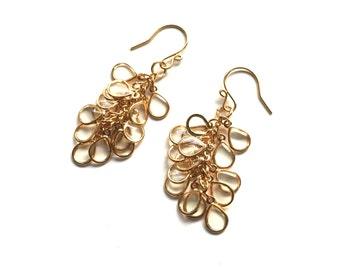 Teardrop Cluster Earrings in Gold