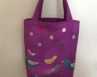 Birds on Purple Tote or Book Bag for Girls