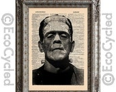 SALE Frankenstein on Vintage Upcycled Dictionary Art Print Book Art Print Recycled Movie Monster