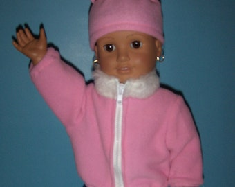 Cozy Pink  Fleece  Jacket,with Faux Fur Collar and Hat fits American Girl Doll and other 18 inch Dolls