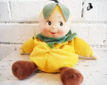 Shabby beanbag doll citrus fruit anthropomorphic yellow green brown plush sweet vintage lemon
