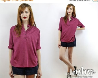 Vintage 80s Polka Dot Blouse M L Polka Dot Shirt Oversized Blouse Wine Blouse Merlot Blouse