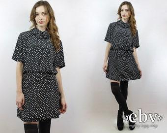 Vintage 80s Floral Print Mini Dress M Secretary Dress 80s Dress Black Floral Dress Black Dress Ruffled Dress Work Dress