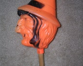 Rare Vintage Halloween Blow Mold Witch Rattle Shaker Noise Maker
