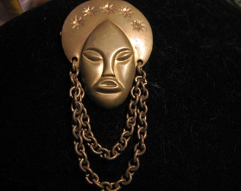 Vintage African Queen/Nubian Princess Brass Dangle Chain Brooch