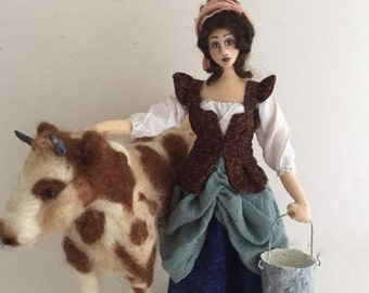 OOAK art doll Milkmaid Victorian needle felt cow posable cloth soft sculpture rustic home decor