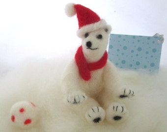 Needle felt polar bear cub Christmas wool animal soft sculpture holiday decoration