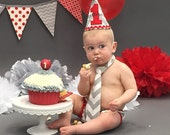 cake smash outfit boy, gray and red first birthday cake smash outfit, gray and red birthday outfit