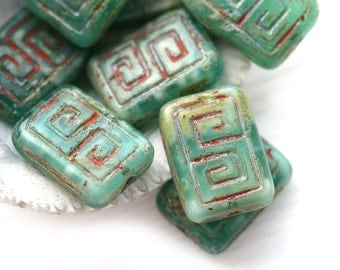 8pc Picasso Rectangle czech beads, Turquoise Green mixed, Greek Key, Carved Aged rustic glass beads - 12x9mm - 1322