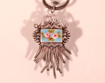Antique Pendant Silver Pendant Enamel Double Face Floral Pendant Tassel Necklace Silver Plate Chain Stamped Pendant French Victorian jewelry