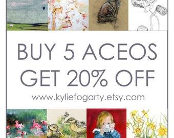Fine Art Open Edition ACEO Print Set, Buy 5 Get 20% off, Botanical, Animal,Figurative, Landscape, Portraiture, Miniature Art Prints