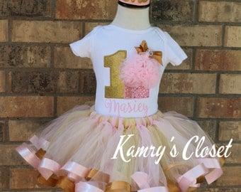 First Birthday One Tutu Skirt,Shirt, and Crown Set