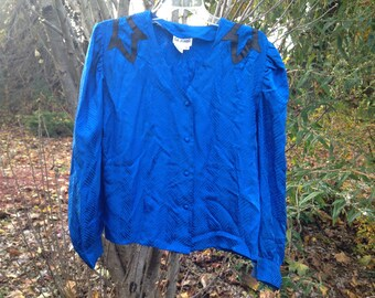 Vintage 80s Royal Blue Satin Blouse with Leather Detailing / Bright Blue Button Up Shirt / REAL Satin V-neck / Size Women's Medium