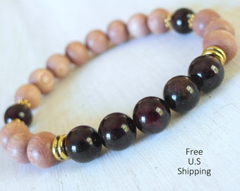 Garnet mala, Rosewood, Mala beads, Yoga Bracelet, Meditation bracelet, Reiki, wrist mala, Garnet bracelet, wood beads, buddhist bracelet