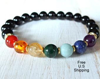 7 Chakras bracelet, wrist Mala, Meditation mala, seven chakras, balance bracelet, chakras bracelet, reiki bracelet, Onyx, Yoga bracelet