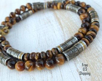 Mens tiger eye, Men's Necklace, tribal necklace, casual necklace, pyrite necklace, tiger eye necklace, gift for him, brown neckalce, fortune