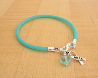 Teal Awareness Bracelet  - PTSD, Myasthenia Gravis, Ovarian Cancer, Scleroderma, Tourette Syndrome, Interstitial Cystitis  & More