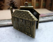 1 pcs 7x37x41mm antique bronze brass house houses charms pendants fc95977