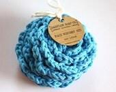 SHOP CLOSING SALE Flower Face Scrubby Set . Set of 3 . Crochet . 100 Percent Cotton . Blue