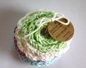 SHOP CLOSING SALE Flower Face Scrubby Set . Set of 3 . Crochet . 100 Percent Cotton . Green, Blue, Purple & White