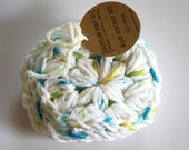 SHOP CLOSING SALE Round Face Scrubby Set . Set of 3 . Crochet . 100 Percent Cotton . White, Blue, Yellow & Green