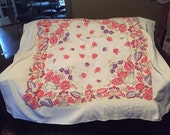Lovely vintage tablecloth, purple red floral