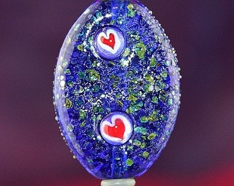 Floating Hearts Handmade Lampworked Glass Bead OOAK Blue Green Red Silver Pressed Tab Shield Focal Lampwork