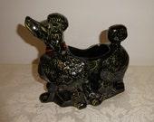 Vintage McCoy Poodle Planter Black Ceramic Snooty Poodle Mid Century