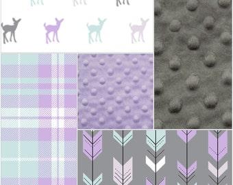 Woodland Baby Girl Crib Bedding - Lilac Mint Fawn, Gray Lilac Mint Fletching Arrows, Plaid, and Lilac Crib Bedding Ensemble