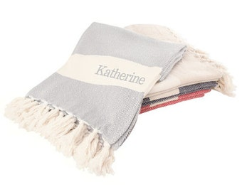 Personalized Embroidered Turkish Throw Blanket