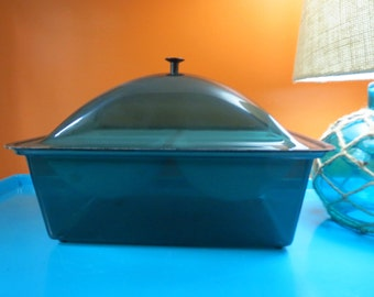 Vintage 1970s MID Century Modern Blue Acrylic Food Serving Ice Chiller Dome Box 4 slot