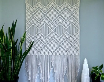 "Sale 20% Off Macrame Wall Hanging - Natural White Cotton 36"" Dowel - Geometric Pattern - Boho Decor - Wedding Backdrop - READY TO SHIP"