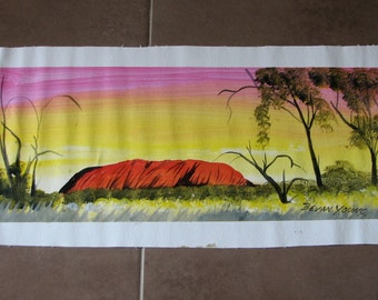 Ayers Rock Uluru Aboriginal Art Painting on Canvas Australian Art Signed