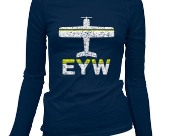 Women's Fly Key West Long Sleeve Tee - EYW Airport - S M L XL 2x - Ladies' Key West T-shirt, Florida Keys, Conch Republic - 2 Colors